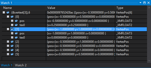 《Visual Studio查看数组指针的内容》