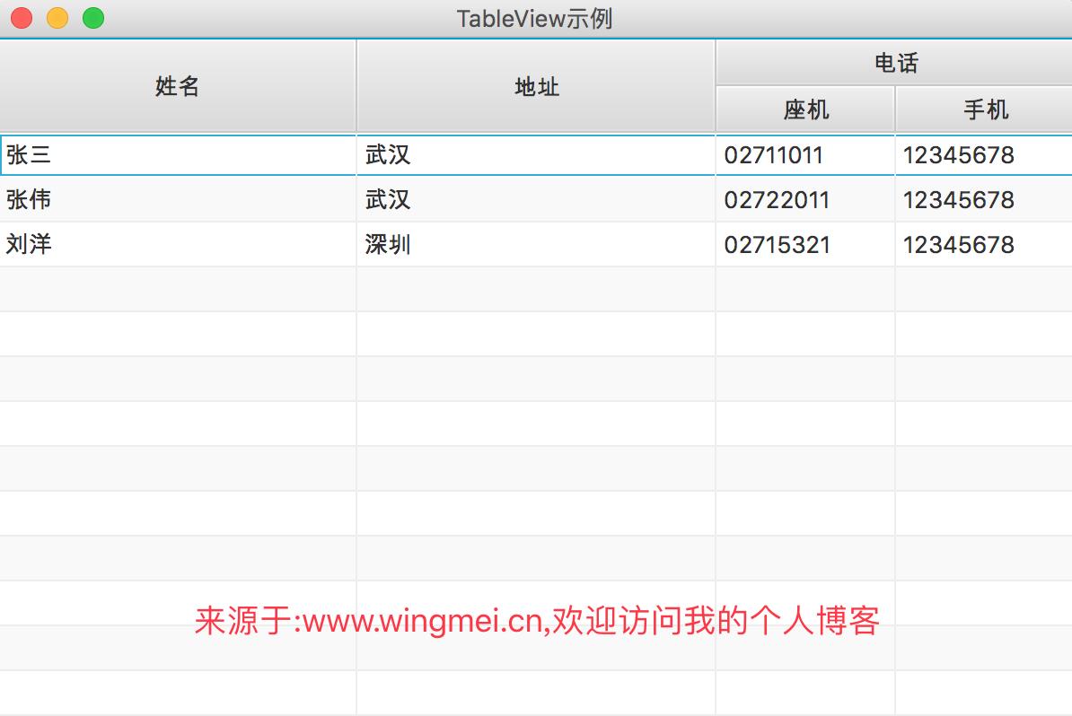 《从零开始学习JavaFX(14) 控件篇之TableView(1)》