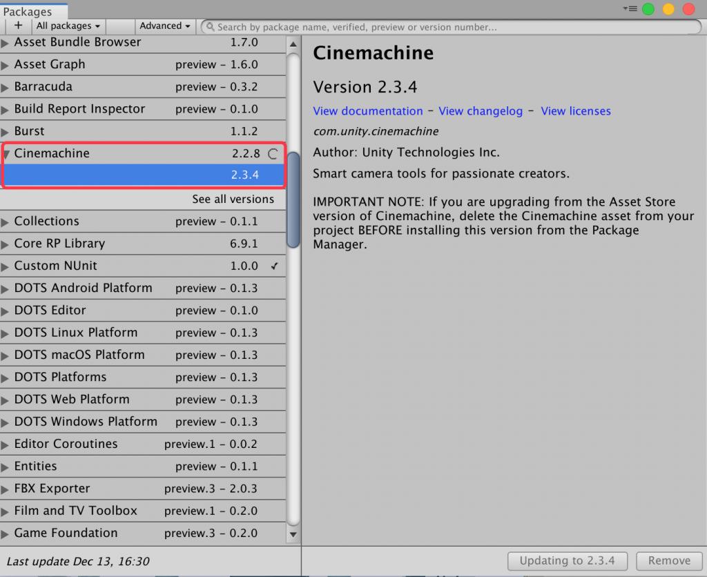《Unity3D Cinemachine报错的解决方法》